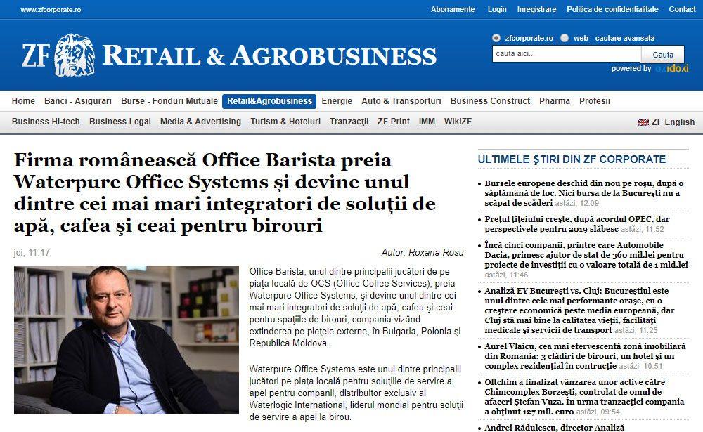 Firma românească Office Barista preia Waterpure Office Systems şi devine unul dintre cei mai mari integratori de soluţii de apă, cafea şi ceai pentru birouri