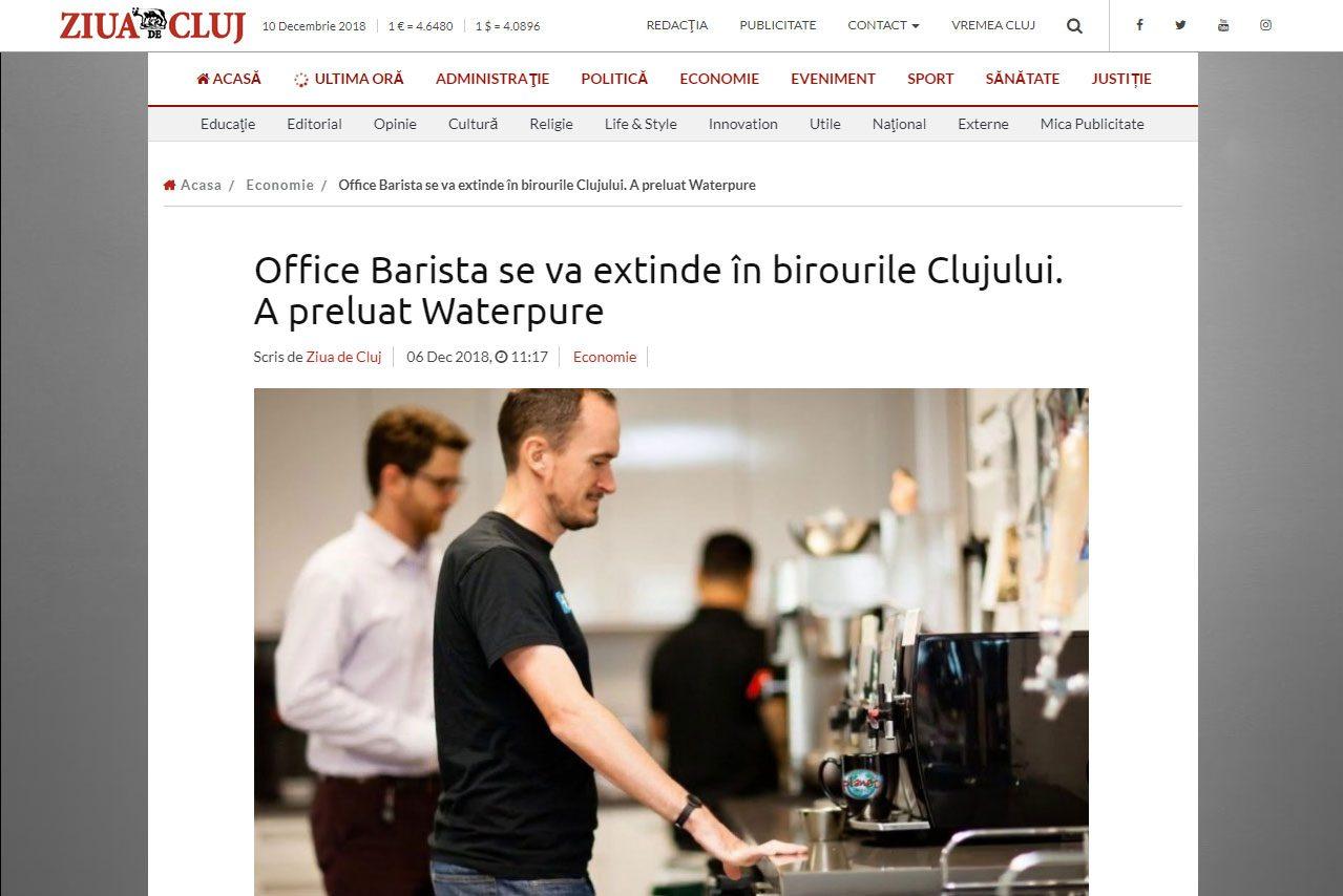 Office Barista se va extinde în birourile Clujului. A preluat Waterpure