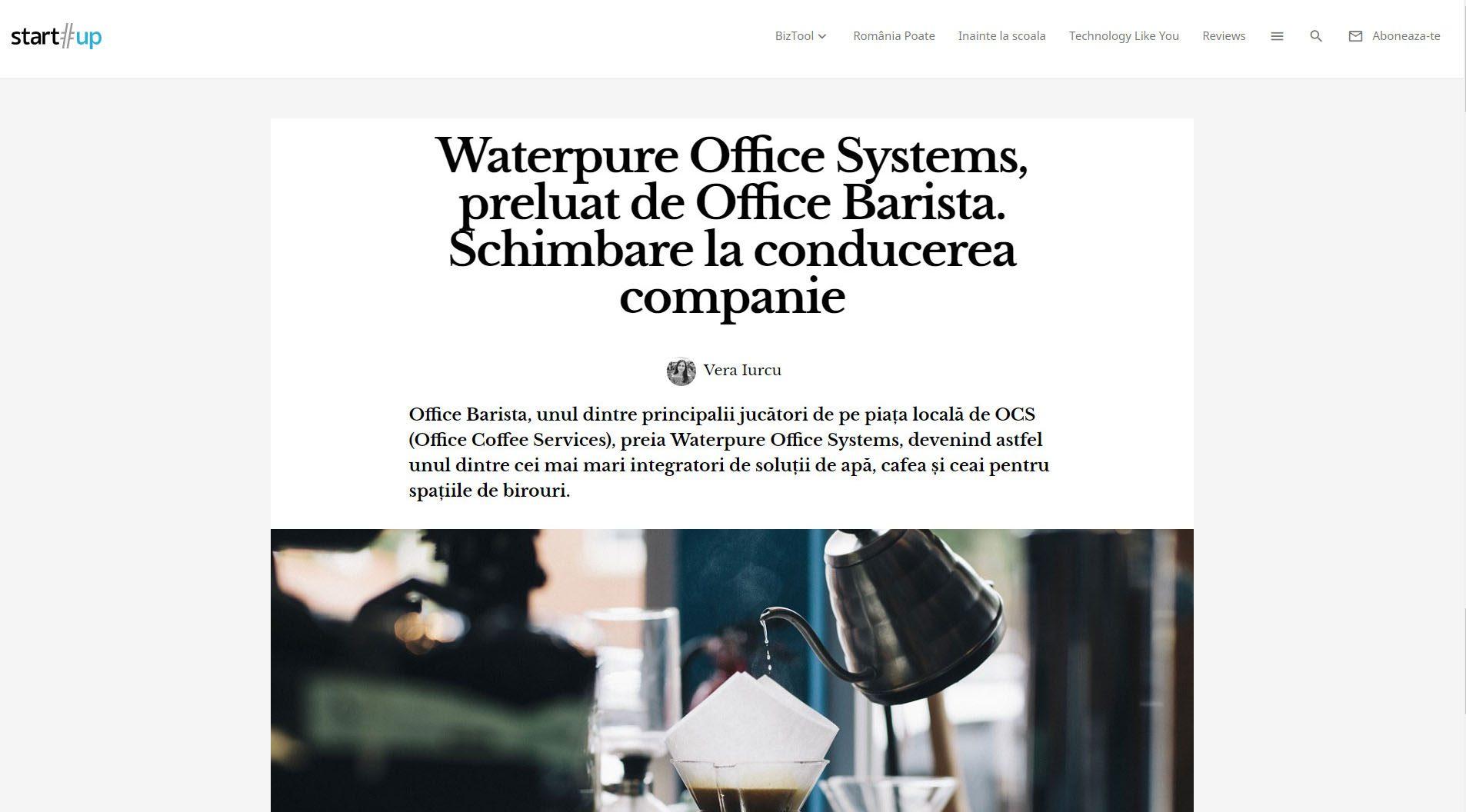 Waterpure Office Systems, preluat de Office Barista. Schimbare la conducerea companie