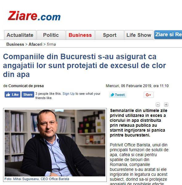 Companiile din Bucuresti s-au asigurat ca angajatii lor sunt protejati de excesul de clor din apa